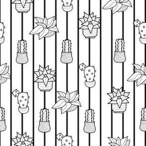 Hand drawn black and white cactus pattern design