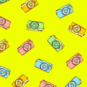 Colorful hand drawn summer photo cam pattern design