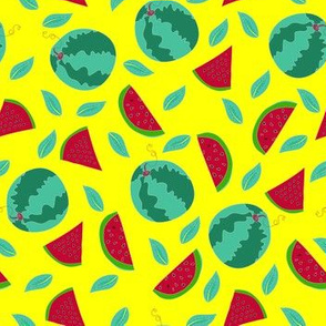 Hand drawn colorful watermelon pattern design