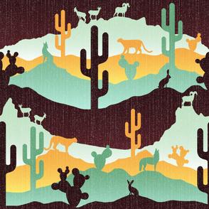 Sonoran Desert Landscape Mint Yellow Brown