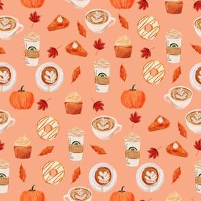 watercolor psl - pumpkin spice latte, coffee, latte, pumpkin, fall, autumn fabric -soft orange