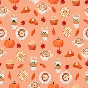 SMALL -watercolor psl - pumpkin spice latte, coffee, latte, pumpkin, fall, autumn fabric -soft orange