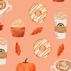 LARGE - watercolor psl - pumpkin spice latte, coffee, latte, pumpkin, fall, autumn fabric -soft orange