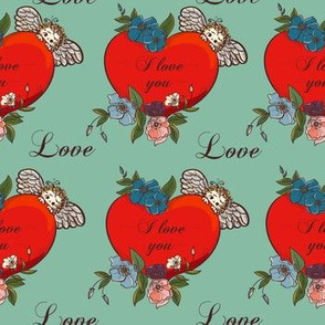 Hand drawn vintage love you heart pattern design