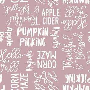 Favorite things of fall - fall words on mauve - LAD19