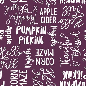 Favorite things of fall - fall words on plum  - LAD19