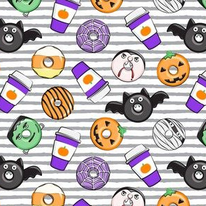 (small scale) Halloween coffee and donuts - purple with grey stripes  - bats, pumpkins, spider web, vampire - LAD19BS