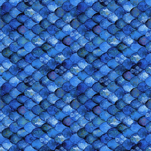 Rebecca: Deep Blues in Mermaid or Dragon Scales Rotated 90R by Su_G_©SuSchaefer