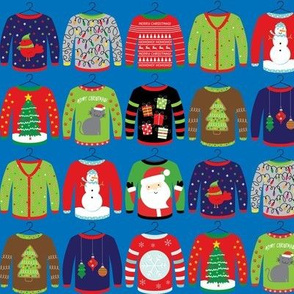 Ugly Christmas Sweaters on Blue 2""