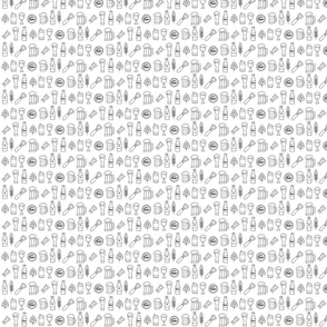 Beer seamless pattern Black and white _ Small