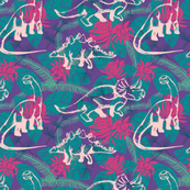 Hawaiian Dinos- purple/pink