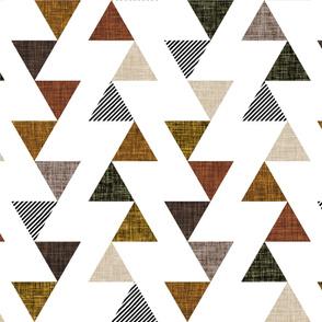 cinnamon + mocha linens triangle ladder wholecloth // black stripes + mocha, cedar, 13-2, 12-16, 19-16,  olive green, cinnamon
