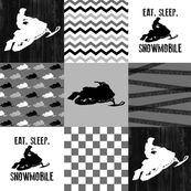 Eat Sleep Snowmobile//Black&Grey - Wholecloth Cheater Quilt