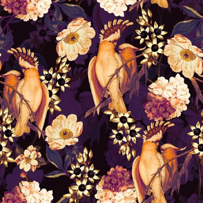 "12"" Pierre-Joseph Redouté tropicals - sepia Lush hawaiian tropical vintage parrot Jungle summer paradise in purple cream"