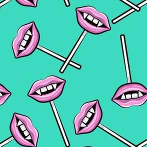 Vampire Lips Suckers- teal - halloween - LAD19