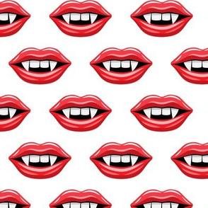 Vampire Lips - white - halloween - LAD19