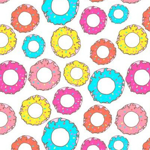 Hand drawn sweet colorful donuts design seamless pattern