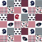 "football quilt, 3""squares broadcloth, cheater quilt, patchwork - sports, red and navy"