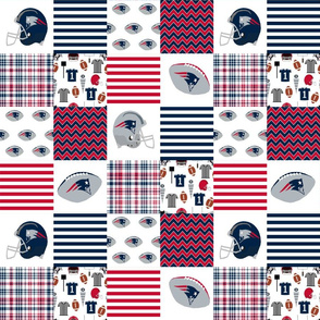 "football quilt - 3"" squares new england quilt, navy and blue fabric, football, american football quilt, sports, sports"
