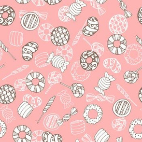 Hand drawn cute pink candy and sweets seamless pattern design