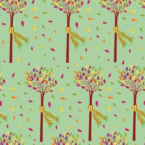 Hand drawn autumn colorful tree seamless pattern design