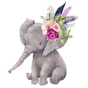 """6"""" Square Boho Lilac Elephant"""
