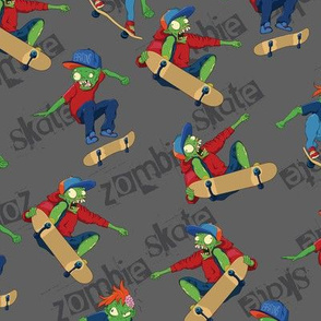 Hand drawn Halloween zombie skateboarding seamless pattern