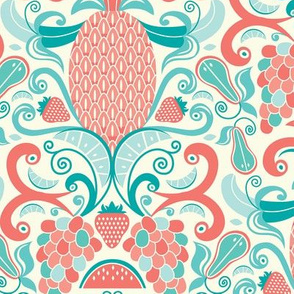 Ambrosia - Fruit Damask Pineapple Coral Aqua Cream Larger Scale