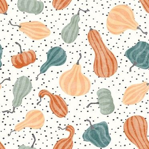 Fall Gourds - fall colors on dark polka dots - winter squash thanksgiving - LAD19