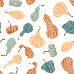 Fall Gourds - fall colors on cream  - winter squash thanksgiving - LAD19