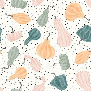 Fall Gourds - fall pastels on dark polka dots - winter squash thanksgiving - LAD19