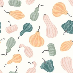 Fall Gourds - fall pastels on cream - winter squash thanksgiving - LAD19