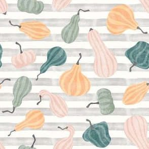 Fall Gourds - fall pastels on stripes - winter squash thanksgiving - LAD19