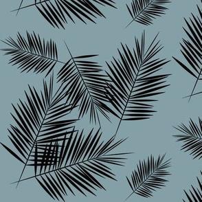 Palm leaf - black on dusty blue