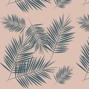 Palm leaf - blush and dusty blue