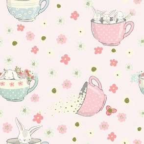 """9"""" Spring is all over - Little Bunnies and Cute Florals - baby girls fabric - spring animals flower fabric, baby fabric"""