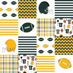 "green bay - 6"" squares, american football, football quilt, sports, team, cheesehead"