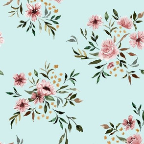 Emila Watercolor Floral V2 - Light Teal