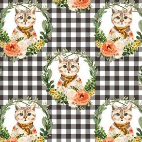 "4"" Miss Kitty Floral Wreath Brown Gingham"