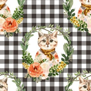 "8"" Miss Kitty Floral Wreath Brown Gingham"