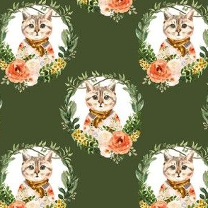 "4"" Miss Kitty Floral Wreath Olive Back"