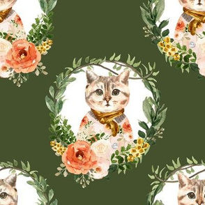 "8"" Miss Kitty Floral Wreath Olive Back"
