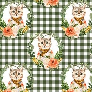 "4"" Miss Kitty Floral Wreath Olive Gingham"