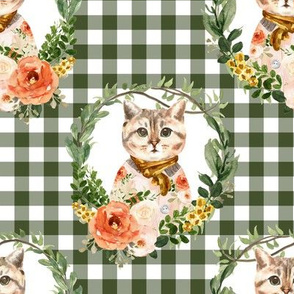 "8"" Miss Kitty Floral Wreath Olive Gingham"