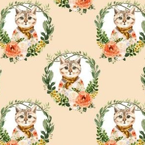 "4"" Miss Kitty Floral Wreath Peach Back"
