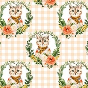 "4"" Miss Kitty Floral Wreath Peach Gingham"
