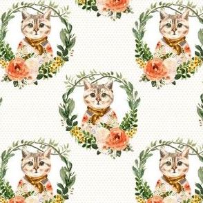 """4"""" Miss Kitty Floral Wreath Peach Polka Dots"""