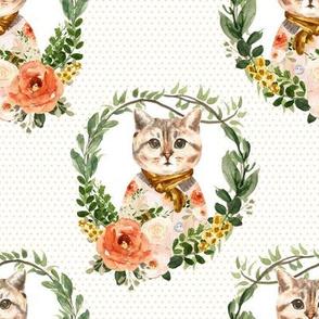 """8"""" Miss Kitty Floral Wreath Peach Polka Dots"""