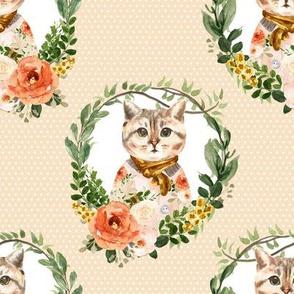 "8"" Miss Kitty Floral Wreath White Polka Dots Peach Back"