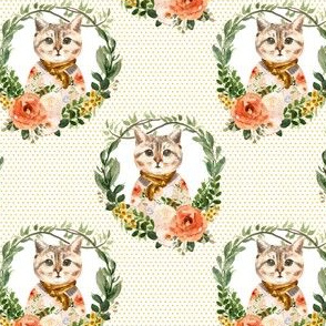 """4"""" Miss Kitty Floral Wreath Yellow Polka Dots"""